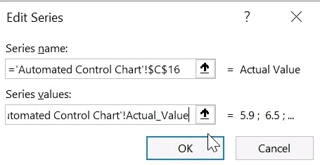 Automated Control Chart in Excel - Replace Absolute References