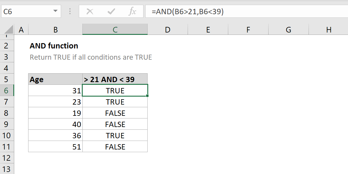 How to use the Excel AND function