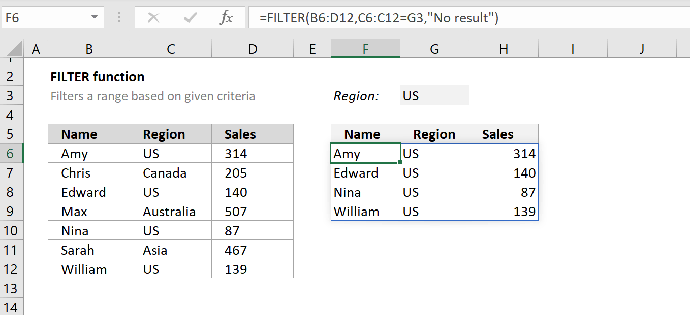 How to use the Excel FILTER function