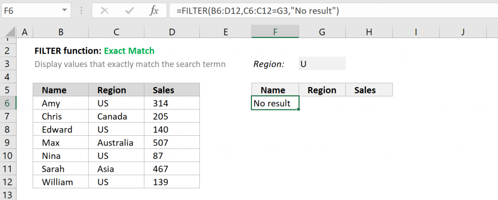 Excel FILTER function - Exact Match