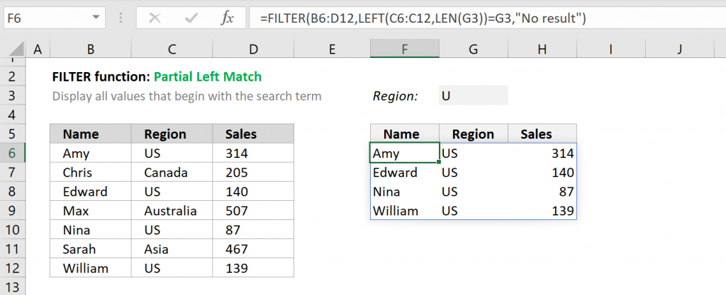 Excel FILTER function - Partial Left Match