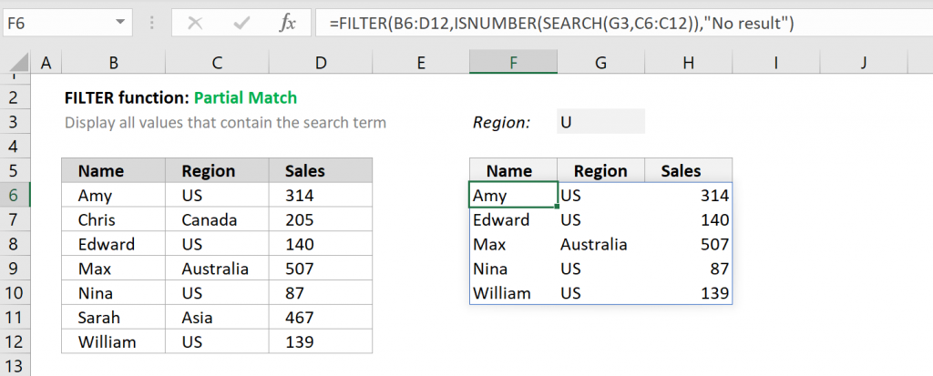 Excel FILTER function - Partial Match