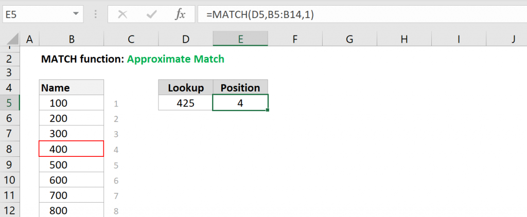 Excel MATCH function - Approximate Match