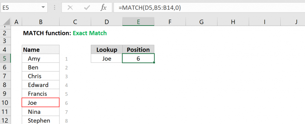 Excel MATCH function - Exact Match