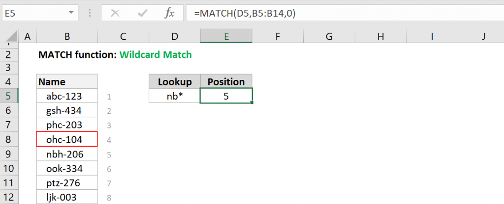Excel MATCH function - Wildcard Match
