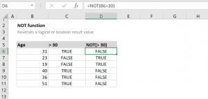 How to use the Excel NOT function