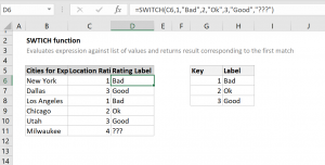 How to use the Excel SWITCH function