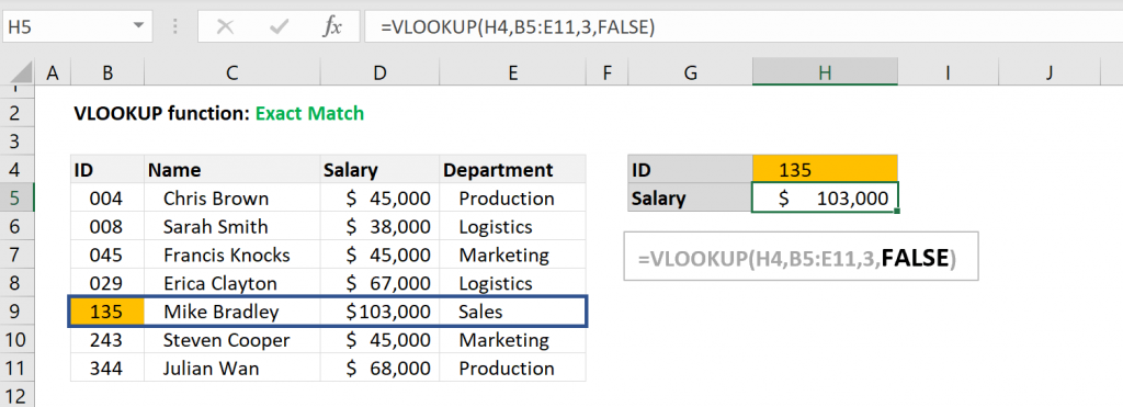 Excel VLOOKUP function - Exact Match