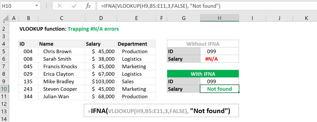 Excel VLOOKUP function - Trap #N/A error