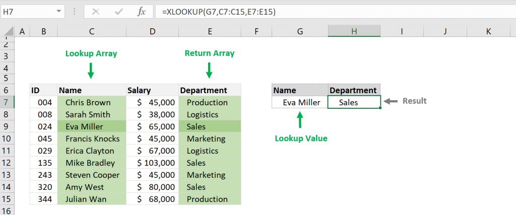 How to use the Excel XLOOKUP function