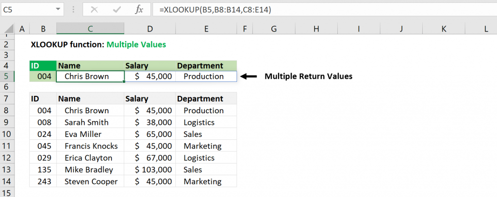 Excel XLOOKUP function - Multiple Return Values