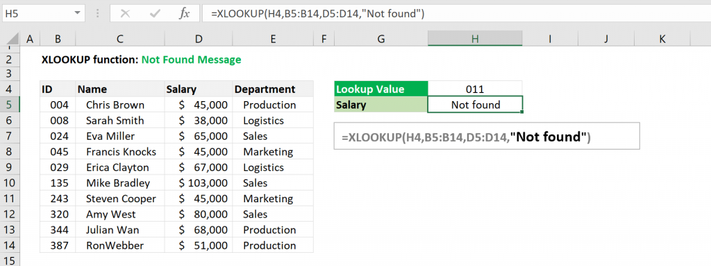 Excel XLOOKUP function - Not found message