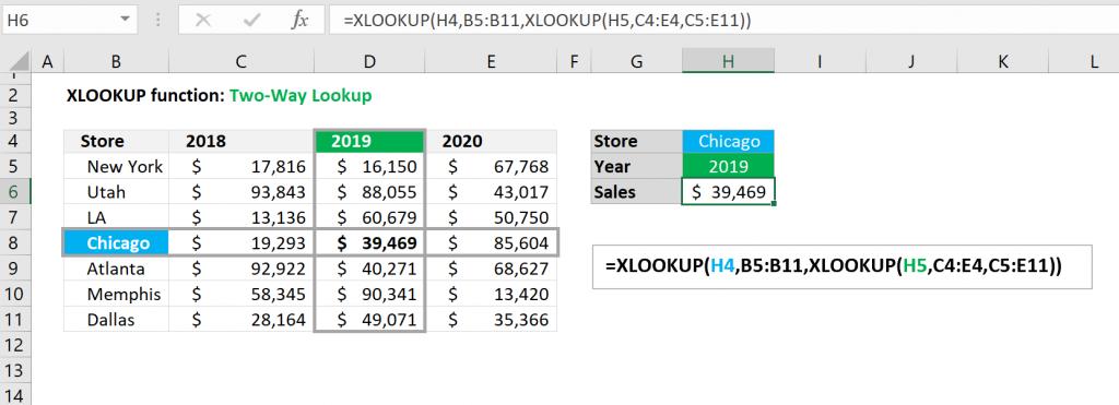 Excel XLOOKUP function - Two-way Lookup