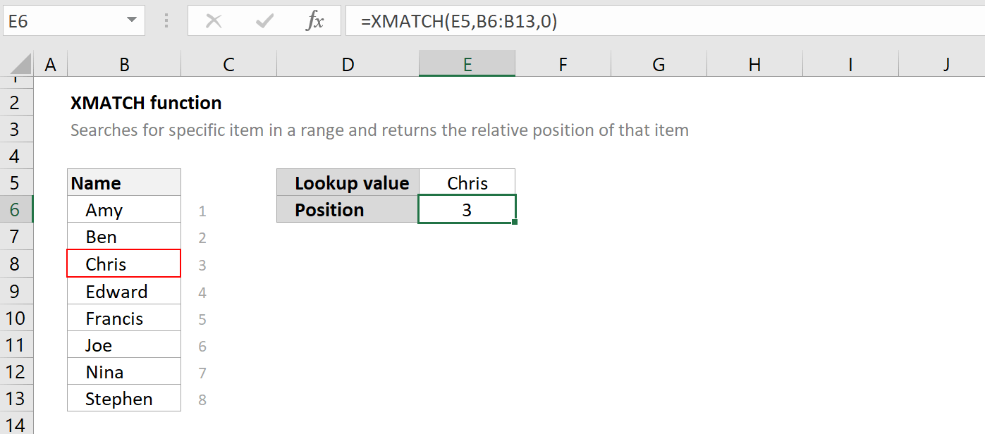How to use the Excel XMATCH function