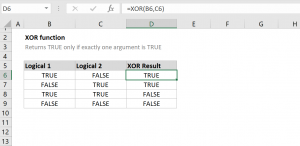 How to use the Excel XOR function